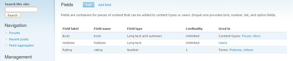 Programming fields in Drupal